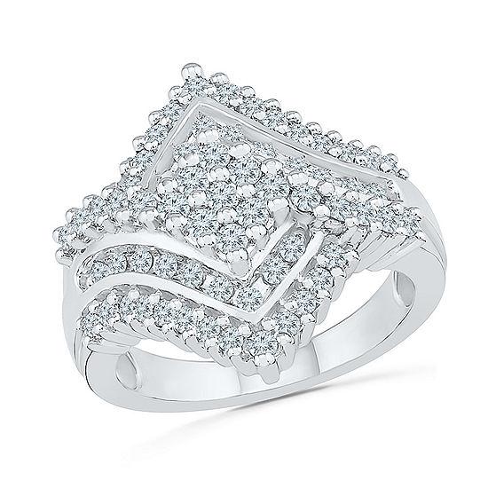 Womens 1 1/8 CT. T.W. Genuine White Diamond 10K White Gold Cluster Cocktail Ring