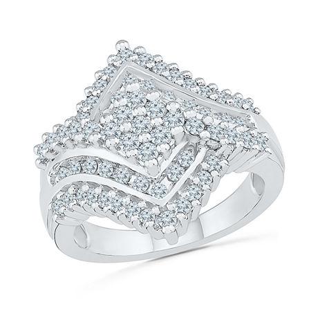 Womens 1 1/8 CT. T.W. Genuine White Diamond 10K White Gold Cluster Cocktail Ring, 9
