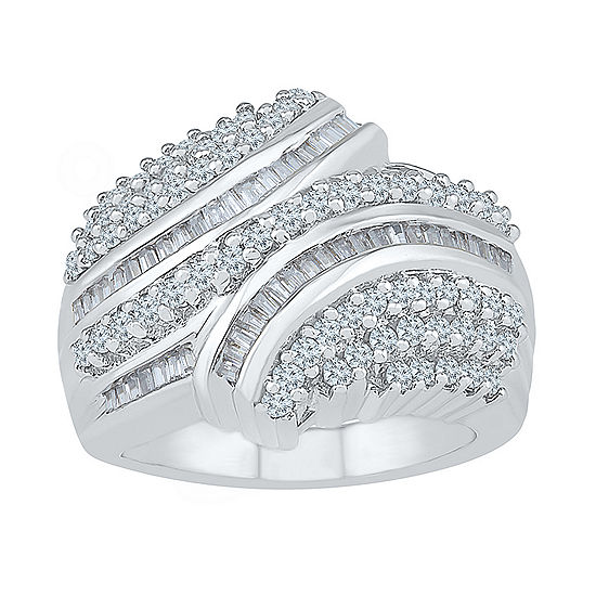 Womens 1 Ct Tw Genuine White Diamond 10k White Gold Cluster Cocktail Ring