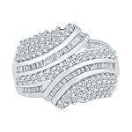 Womens 1 CT. T.W. Genuine White Diamond 10K White Gold Cluster Cocktail Ring