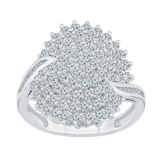 Womens 1 1/4 CT. T.W. Genuine White Diamond 10K White Gold Flower Cluster Cocktail Ring