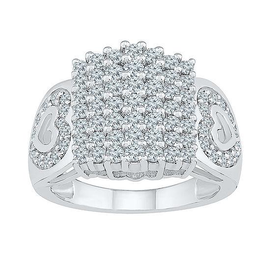 Womens 1 1/2 CT. T.W. Genuine White Diamond 10K White Gold Cluster Cocktail Ring