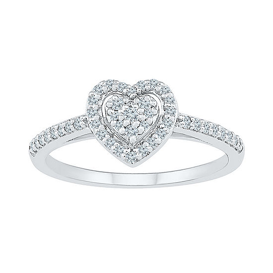 Womens 1/4 CT. T.W. Genuine White Diamond 10K White Gold Heart Cluster Cocktail Ring