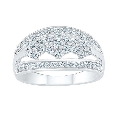 Womens 3/4 CT. T.W. Genuine White Diamond 10K White Gold Cluster Cocktail Ring, 6
