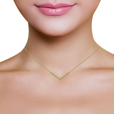 14K Yellow Gold Chevron Necklace