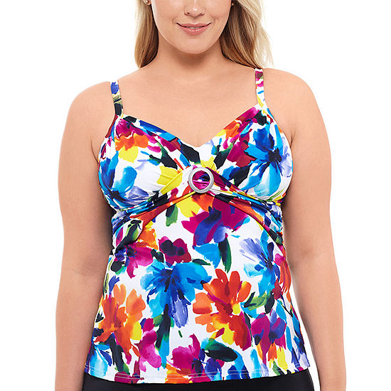 St. John's Bay Floral Tankini Swimsuit Top or Swimsuit Bottom-Plus