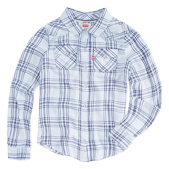 Levi's The Western L/S Denim Top Girls Long Sleeve Button-Front Shirt Big Kid
