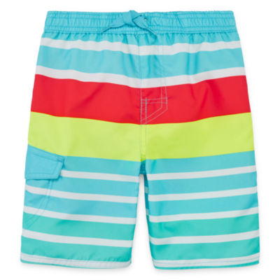 Okie Dokie Boys Striped Swim Trunks-Toddler