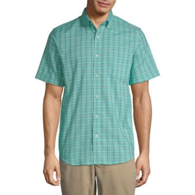 St. John's Bay Mens Short Sleeve Grid Button-Front Shirt Slim