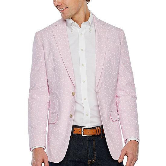 Stafford Cotton Pink Flamingo Classic Fit Sport Coat