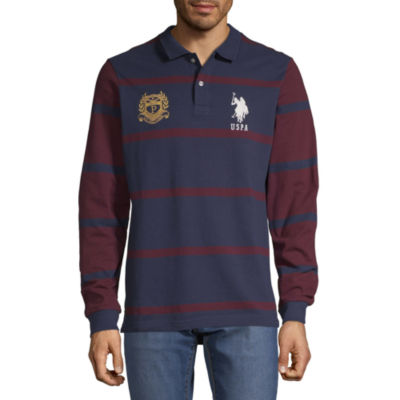 U.S. Polo Assn. Embroidered Long Sleeve Stripe Pique Polo Shirt