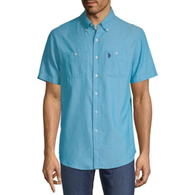 U.S. Polo Assn. Mens Short Sleeve Striped Button-Front Shirt