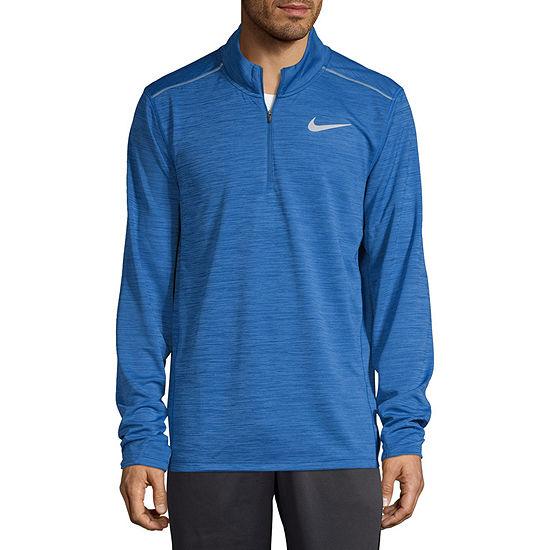 Nike Mens Crew Neck Long Sleeve Quarter-Zip Pullover