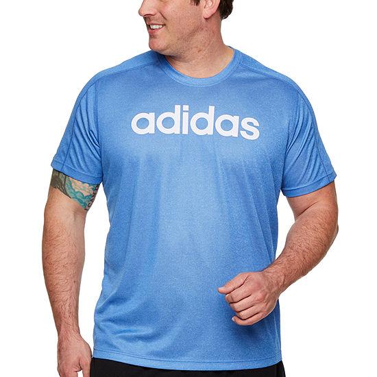 adidas Adidas D2m Pl T Lo Mens Crew Neck Short Sleeve T-Shirt-Big and Tall