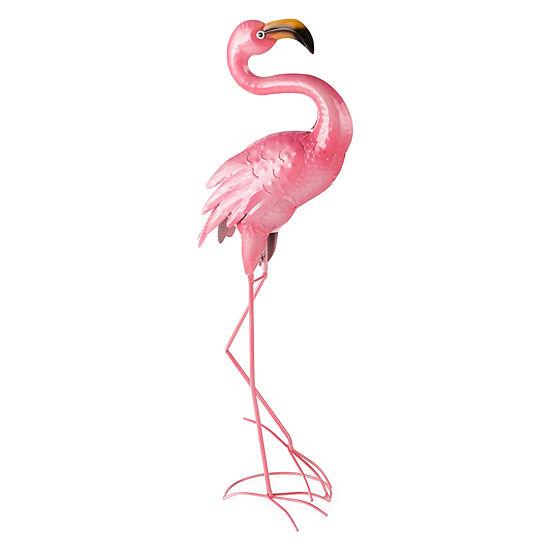 Outdoor Oasis Standing Flamingo Yard Art