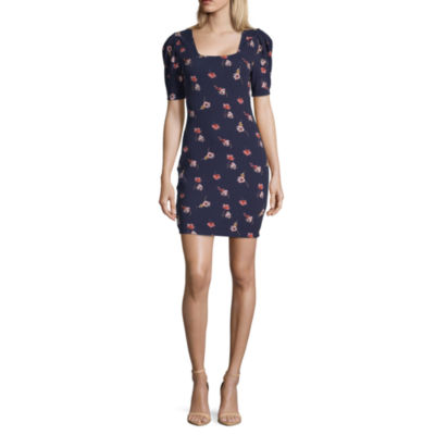 Society And Stitch Short Sleeve Floral Fit & Flare Dress-Juniors