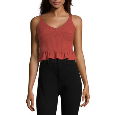Society And Stitch Womens V Neck Sleeveless Crop Top-Juniors