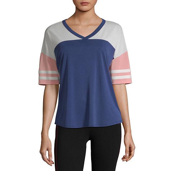 Flirtitude Juniors-Womens V Neck Short Sleeve T-Shirt