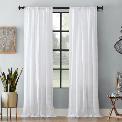 Archaeo Diamond Fray Cotton Rod-Pocket Curtain Panel