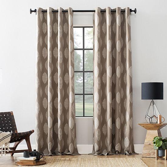Archaeo Herringbone Leaf Blend Energy Saving Blackout Grommet-Top Curtain Panel