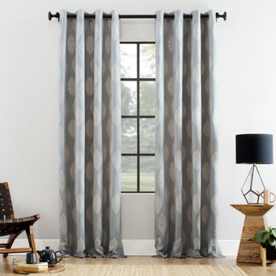 Archaeo Herringbone Leaf Cotton Blend Grommet-Top Curtain Panel