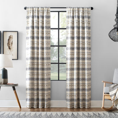 Archaeo Ikat Stripe Cotton Blend Blackout Rod-Pocket Curtain Panel