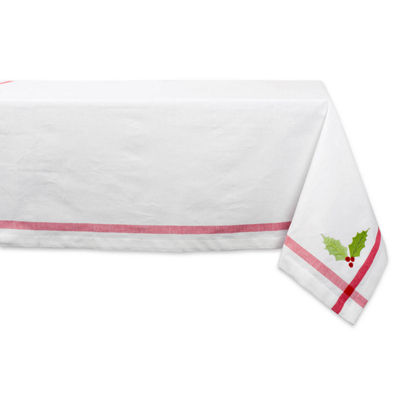 Design Imports Embroidered Holiday Holly Tablecloth