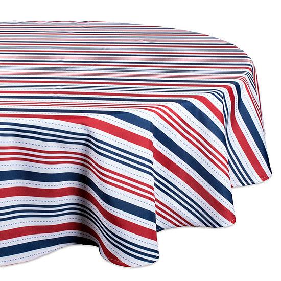 Design Imports Patriotic Stripe Outdoor Tablecloth