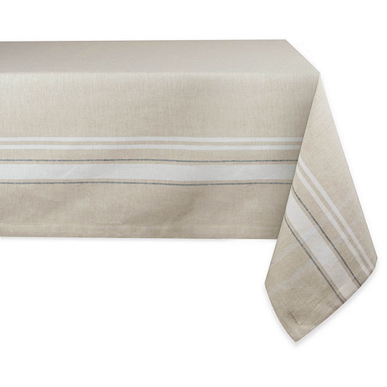 Design Imports Chambray French Sripe Tablecloth
