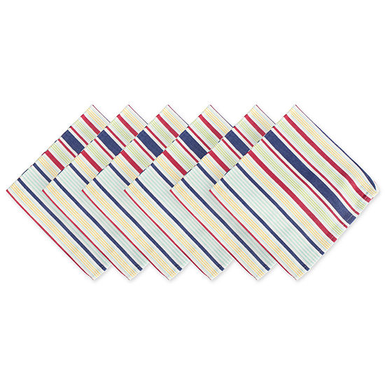 Design Imports Primary Saturated Stripe 6 Pc Napkins