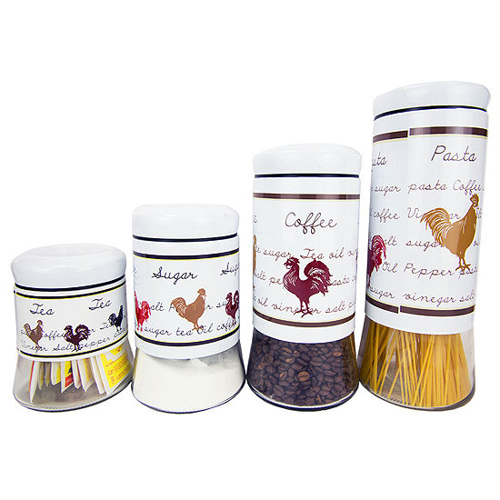 Home Basics Country Rooster 4 Piece Stainless Steel Canister Set