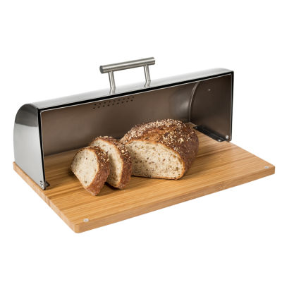 Honey-Can-Do Stainless Steel Breadbox with Bamboo Cutting Board