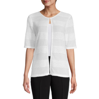 east 5th Womens Round Neck Elbow Sleeve Cardigan