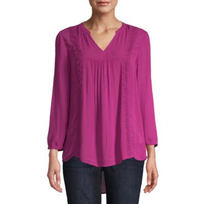 St. John's Bay Womens V Neck 3/4 Sleeve Lace Trim Peasant Top