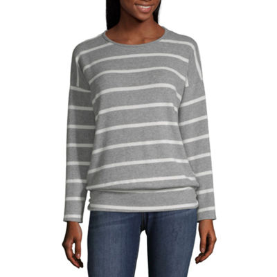 Alyx Womens Round Neck Long Sleeve Striped Pullover Sweater