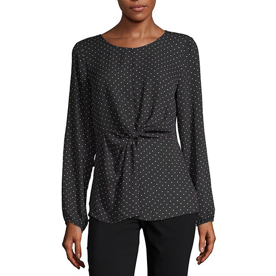 Alyx Womens Round Neck Long Sleeve Blouse