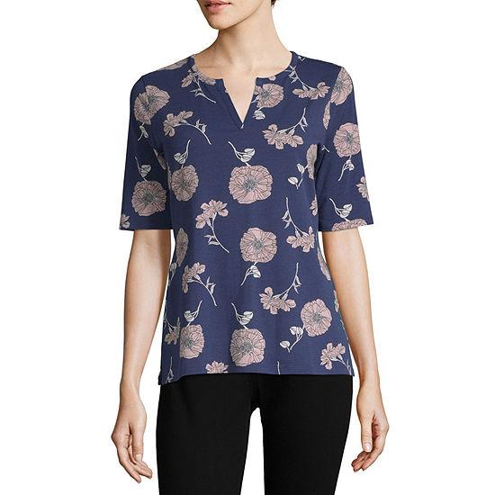 Liz Claiborne-Womens Split Crew Neck Elbow Sleeve T-Shirt