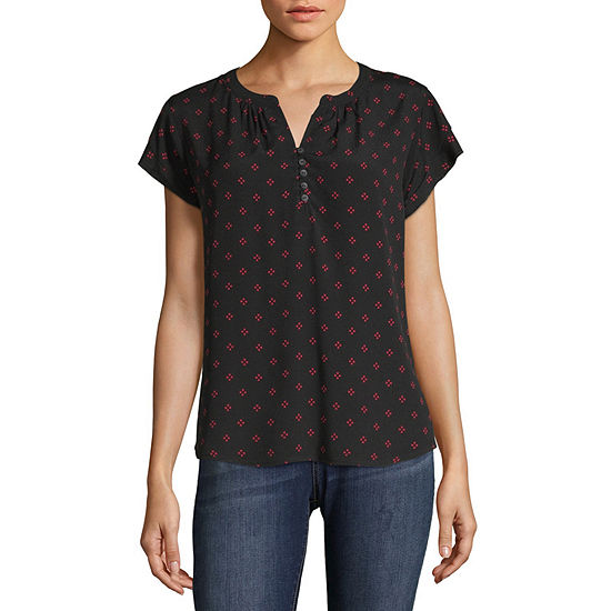Liz Claiborne Womens Split Crew Neck Short Sleeve Blouse