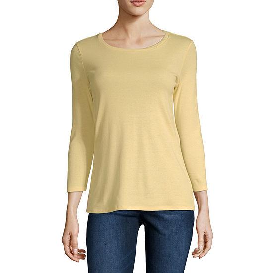 Liz Claiborne Womens Crew Neck 3 4 Sleeve T Shirt