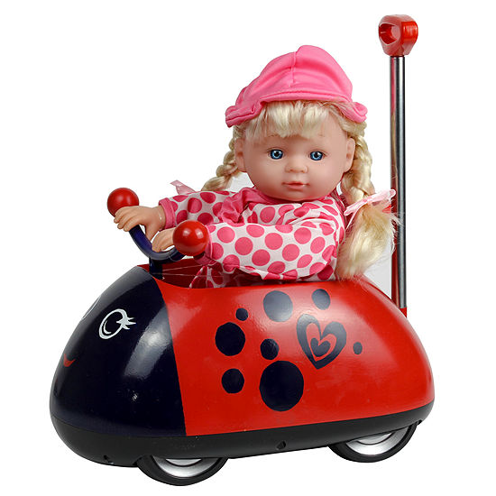 """13"""" My First Ladybug Rideon with Telescopic Handle and Doll"""