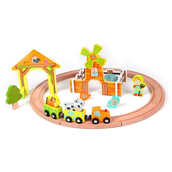 Classic Toy Wooden Farm Train Set
