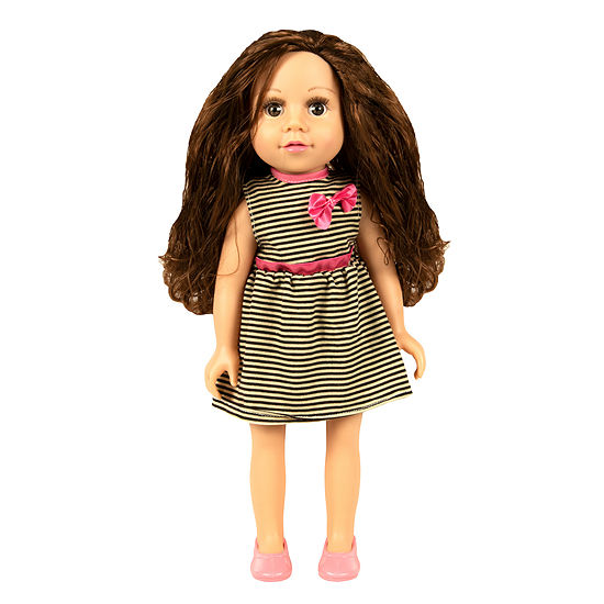 "18"" My Best Friend Doll in a Black & White Striped Dress"