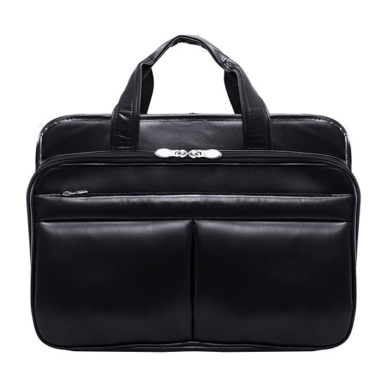 "McKleinUSA Walton 17"" Leather Expandable Double Compartment Laptop Briefcase w/ Removable Sleeve"