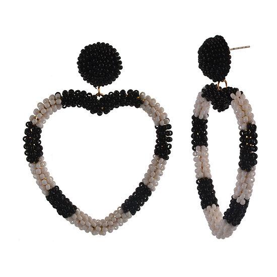 Bijoux Bar Seedbead Heart Drop Earrings