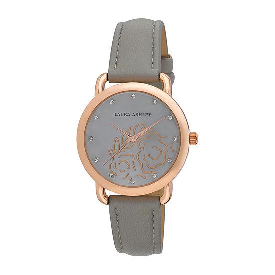 Laura Ashley Womens Gray Strap Watch-La31085gy