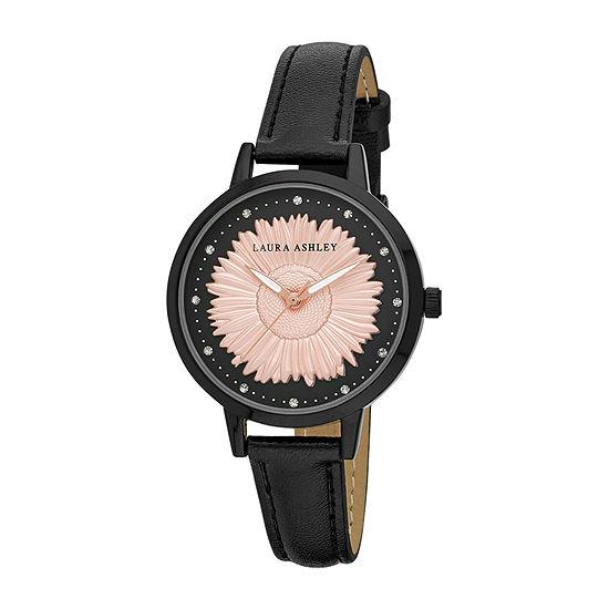 Laura Ashley Womens Black Strap Watch-La31098bk