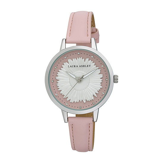 Laura Ashley Womens Silver Tone Strap Watch-La31098ss