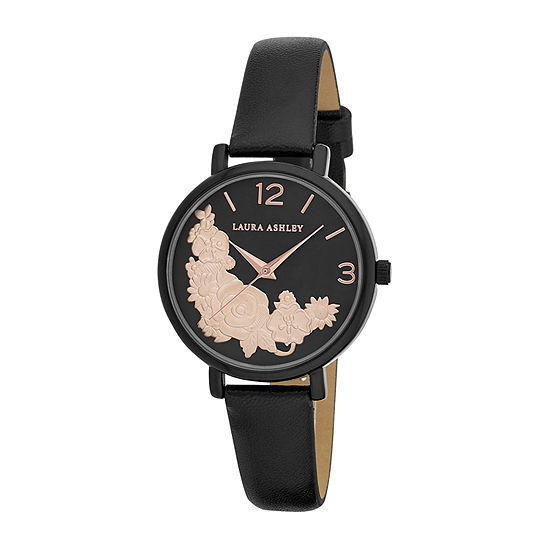 Laura Ashley Womens Black Strap Watch-La31099bk
