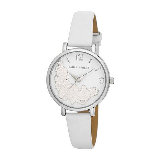 Laura Ashley Womens Silver Tone Strap Watch-La31099ss