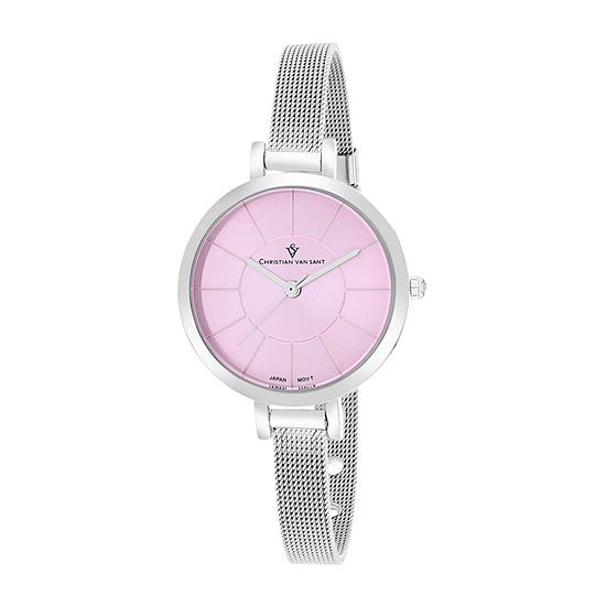 Christian Van Sant Womens Silver Tone Stainless Steel Bracelet Watch-Cv6612